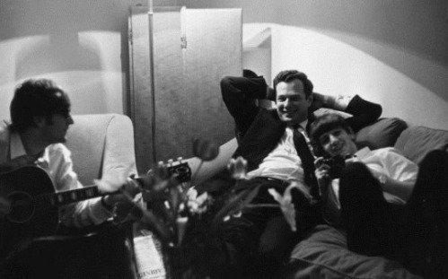 16th January 1964:  Band manager Brian Epstein (1935 - 1967) relaxing in Paris with Beatles members John Lennon (1940 - 1980) and Ringo Starr.  (Photo by Harry Benson/Express/Getty Images)
