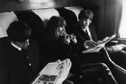 Ringo, Astrid, and John on the set of A Hard Day's Night